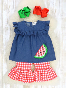 Chambray Watermelon Checkered Pants Outfit