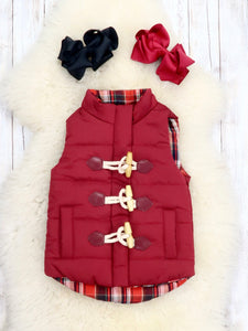 Mom & Me Plaid Button Vest - Wine