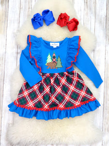 Blue Plaid Bear Ruffle Dress