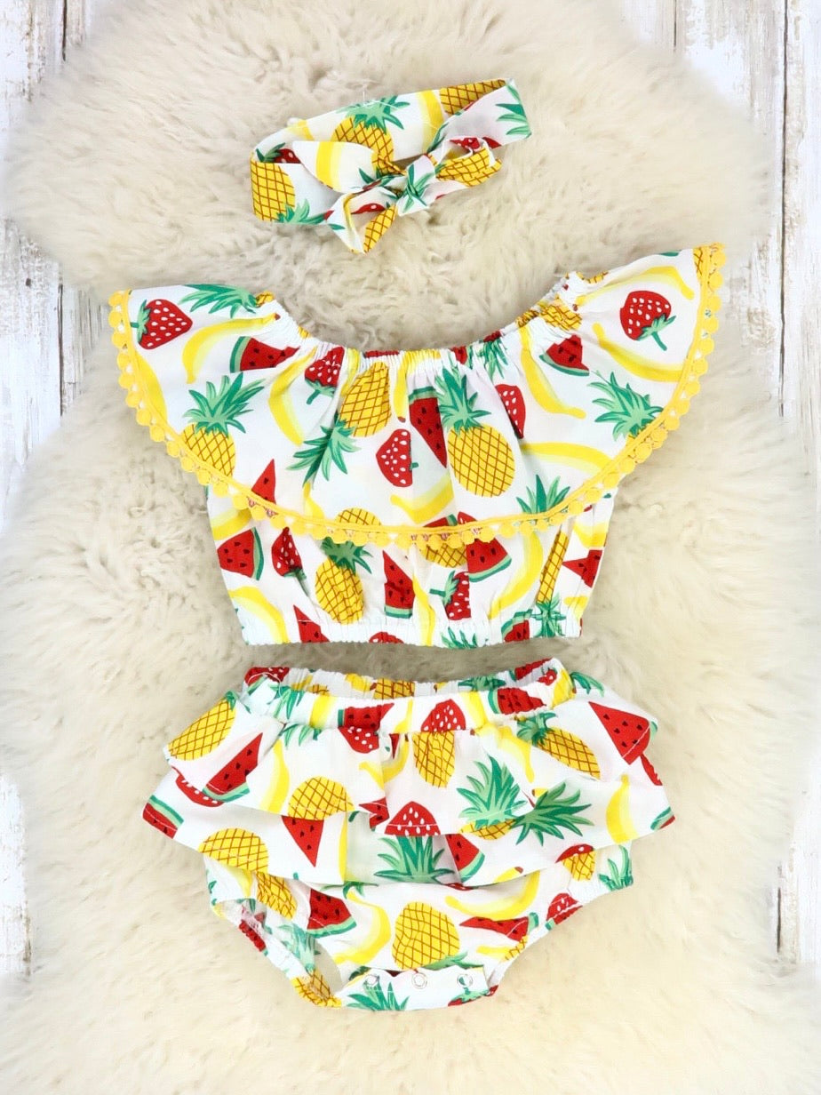 Pineapple & Watermelon Ruffle Crop & Bloomers Outfit with Headband