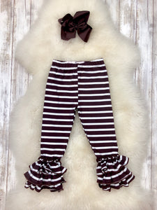 Bell Ruffle Leggings- Brown & White Stripes