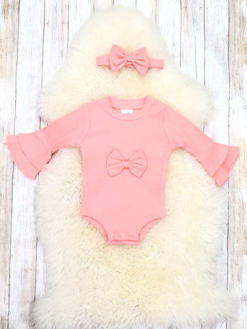Peach Bell Sleeve Bow Bubble Romper & Headband