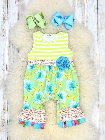 Blue Rose & Lemon Striped Ruffle Romper