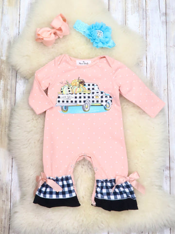 Peach & Plaid Pumpkin Truck Ruffle Romper