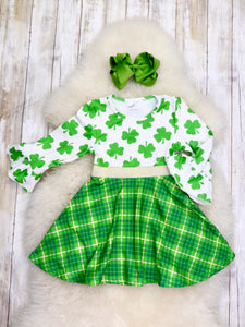 Shamrock & Green Plaid Ruffle Sleeve Dress