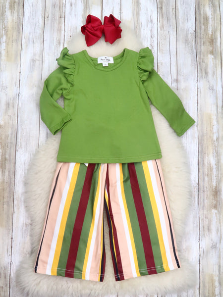 Green Shirt with Brown Striped Paper Bag Pants Outfit
