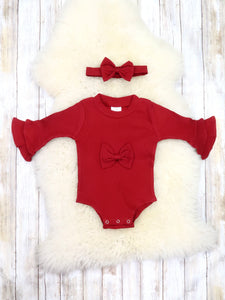 Cranberry Bell Sleeve Bow Bubble Romper & Headband