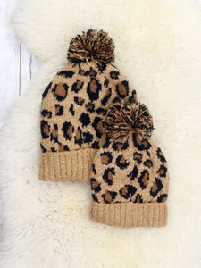 Mom & Me Leopard Knit Hat