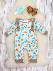 Blue / Beige Sunflower Ruffle Romper