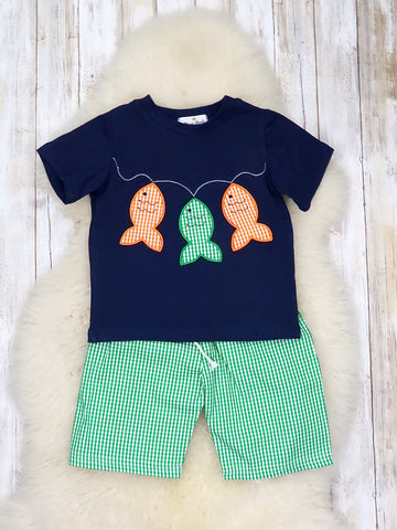 Navy Fish Shirt & Green Checked Cotton Outfit