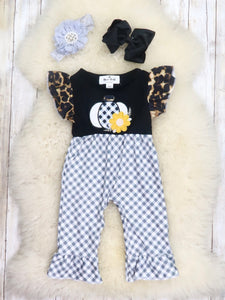 Black/Gray Plaid Leopard Pumpkin Ruffle Romper