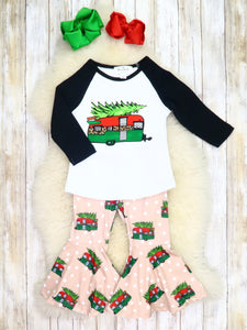 Christmas Tree Trailer Top & Bell Bottoms Outfit