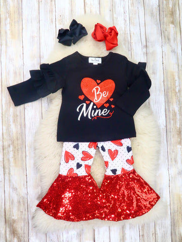 """Be Mine"" Ruffle Top & Hearts Sequin Bell Bottoms Outfit"