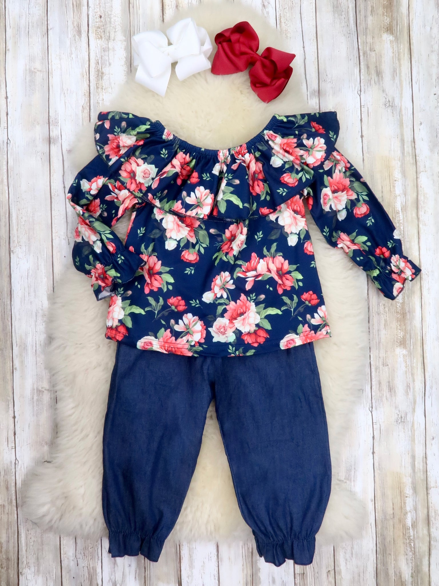 Navy / Pink Floral Ruffle Top & Navy Paper Bag Pants Outfit