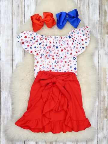 Patriotic Stars Top & Red Short-Skirt Outfit