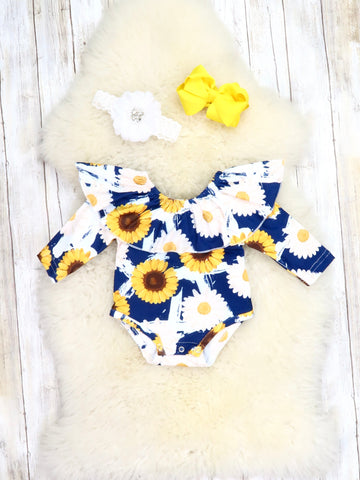 Blue Sunflower & Daisy Ruffle Bubble Romper
