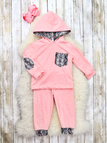 Pink Snakeskin Hoodie & Joggers Outfit