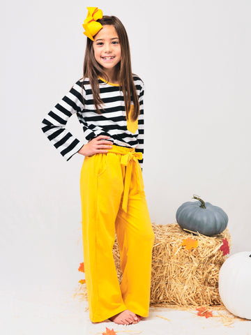 Striped Shirt & Mustard Paper Bag Pants