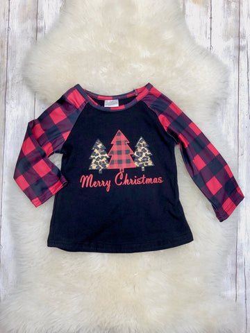 Buffalo Plaid Christmas Tree Trio Black Raglan Shirt