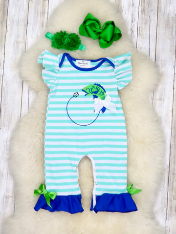 Striped Fishing Flutter Sleeve Romper