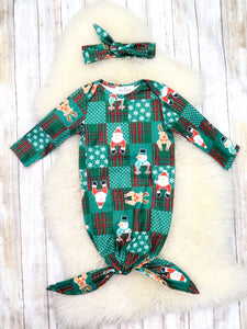 Green Santa & Reindeer Sleep Gown & Headband