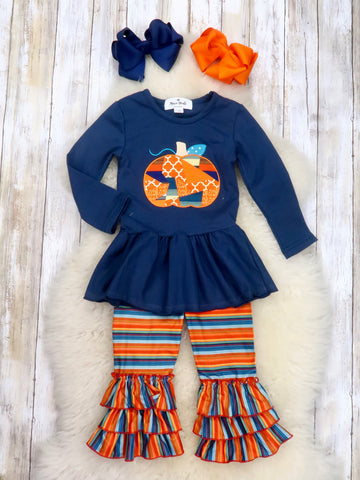 Navy Pumpkin Tunic & Striped Ruffle Pants Outfit