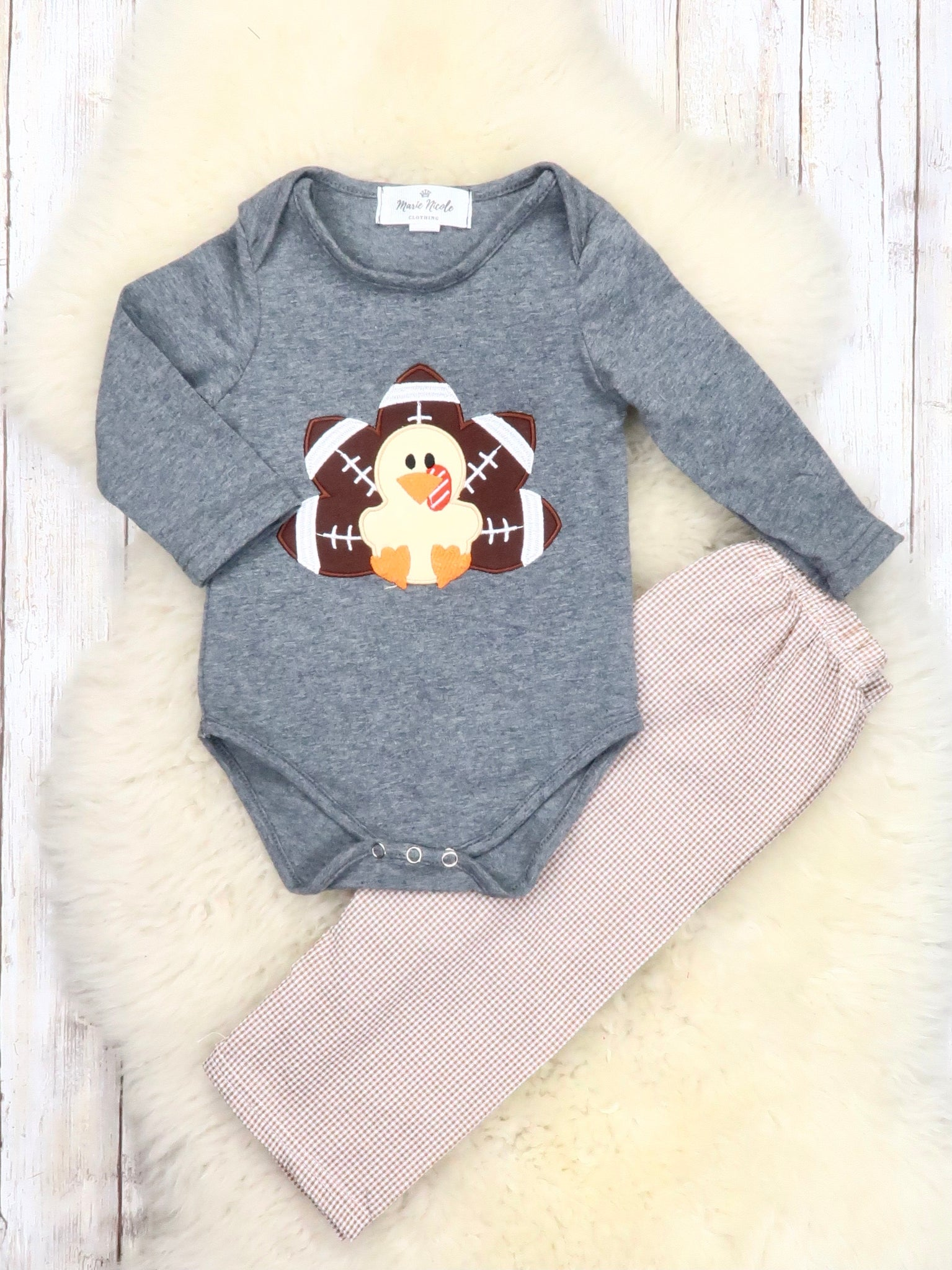 Gray Football Turkey Romper & Beige Gingham Pants Outfit