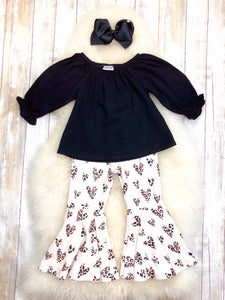 Black Leopard Heart Bell Bottom Outfit