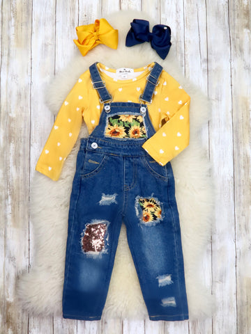 Yellow Top & Sunflower Overalls Outfit