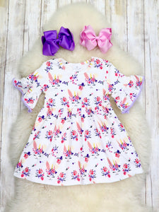 White Unicorn Bunny Ruffle Dress