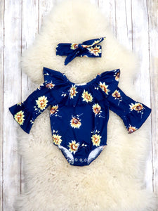 Navy Wildflower Ruffle Bubble Romper & Headband