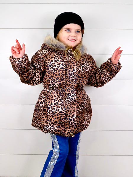 Leopard Print Puffy Hooded Jacket