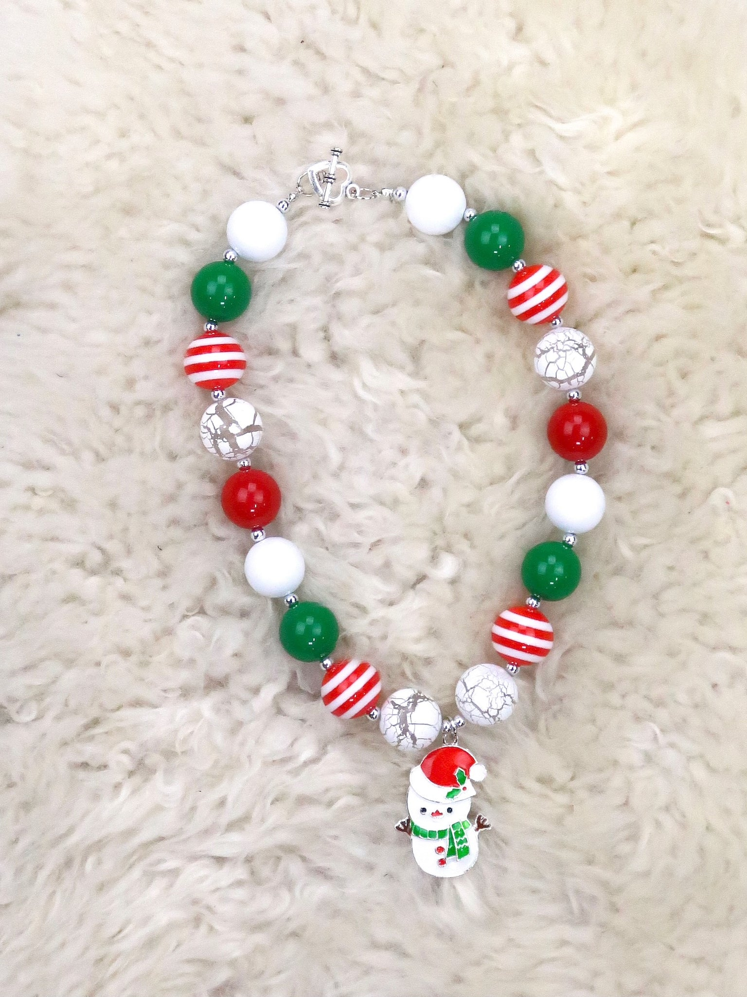 Red / Green Santa Snowman Bubblegum Necklace