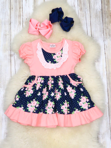 Navy Polka Dot & Pink Floral Pocket Dress