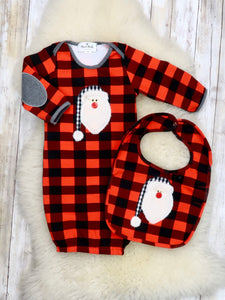 Buffalo Plaid Santa Sleep Gown & Bib