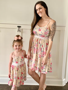 Mom & Me Pale Yellow / Pink Rose Dress