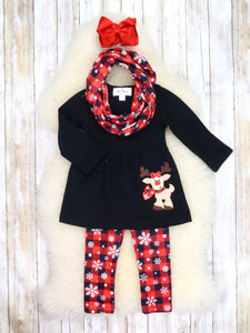 Black Reindeer Tunic, Buffalo Plaid Snowflake Pants, & Scarf Outfit