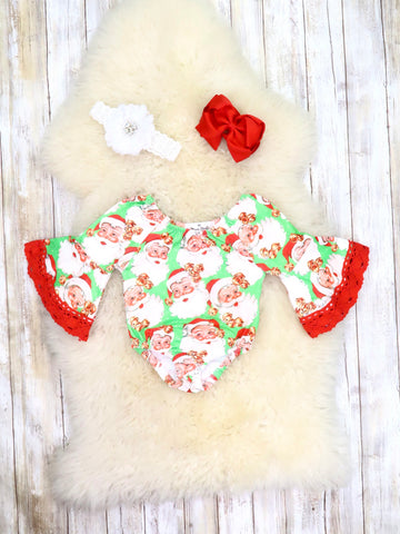Green Santa Bell Sleeve Bubble Romper