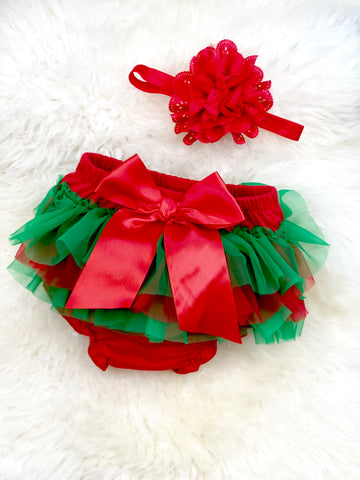Chiffon Ruffle Diaper Cover & Headband Set - Holiday