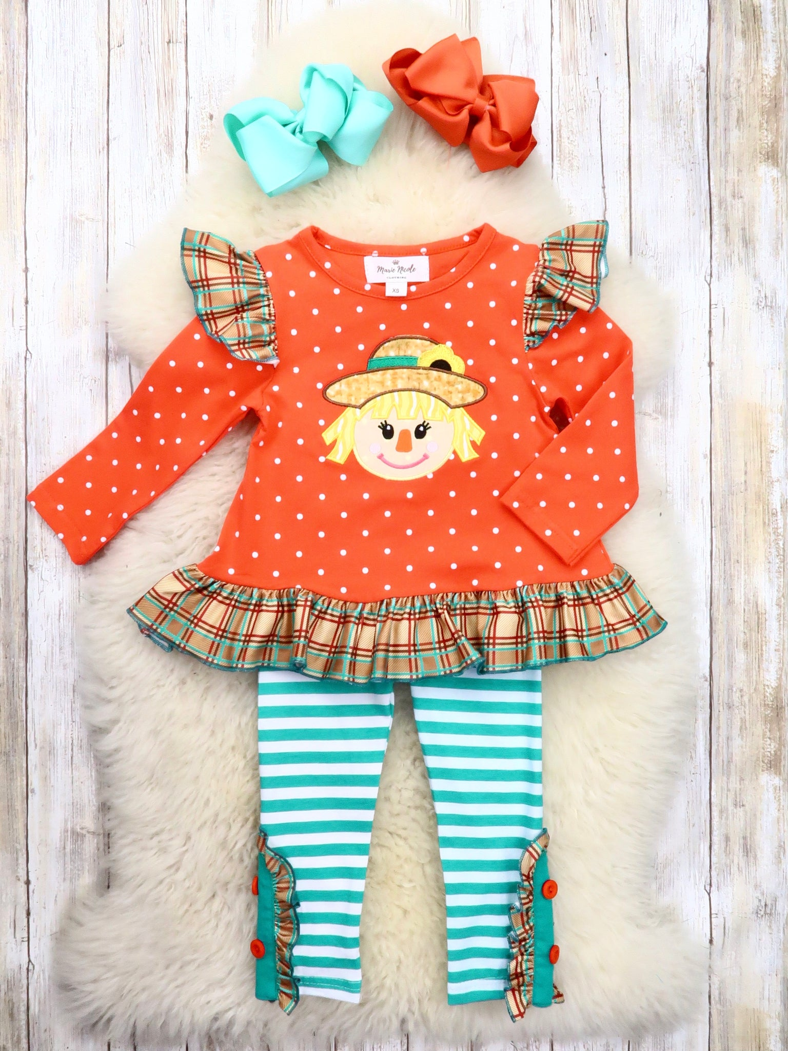 Orange Scarecrow Ruffle Top & Teal Striped Pants Outfit