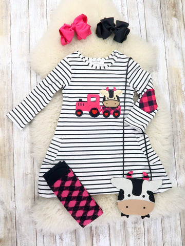 Striped Cow Truck Dress, Purse & Socks Outfit
