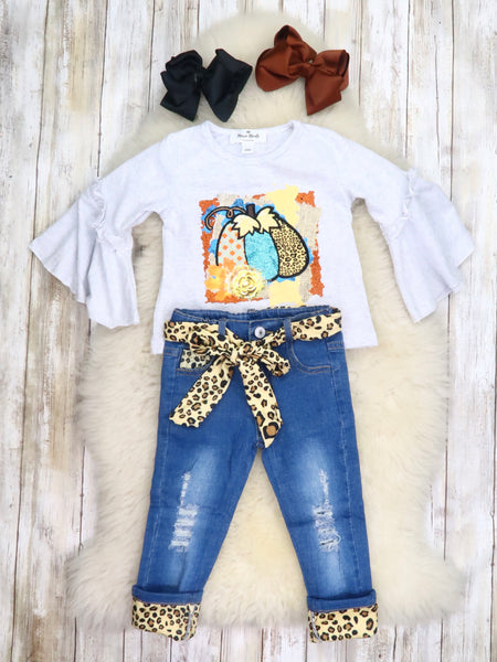 Gray Bell Sleeve Pumpkin Top & Denim Outfit