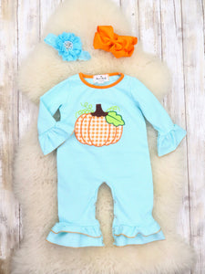 Blue Pinstripe Orange Pumpkin Ruffle Romper
