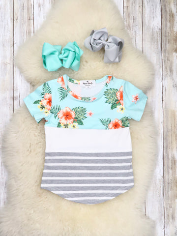 Tropical Floral Striped T-Shirt