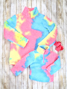 Mom & Me Pink / Blue Tie-Dye Sherpa Pullover