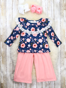 Navy Pink Floral Ruffle Top & Pink Paper Bag Pants Outfit