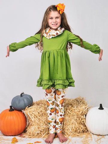 Olive Ruffle Tunic Pumpkin Leggings & Scarf Set