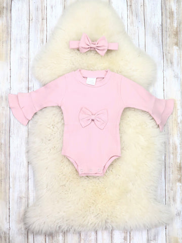 Light Pink Bell Sleeve Bow Bubble Romper & Headband