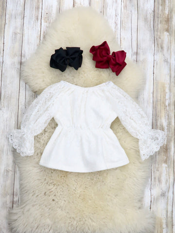 Lace Ruffle Long Sleeve Top - White