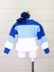Mom & Me Blue/White Colorblock Crewneck Sweater